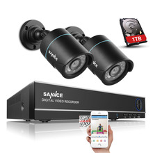 SANNCE 4CH 720P HD Surveillance DVR Recorder and (2) 1280TVL 1.0MP Outdoor Fixed Security Cameras with Super Night Vision