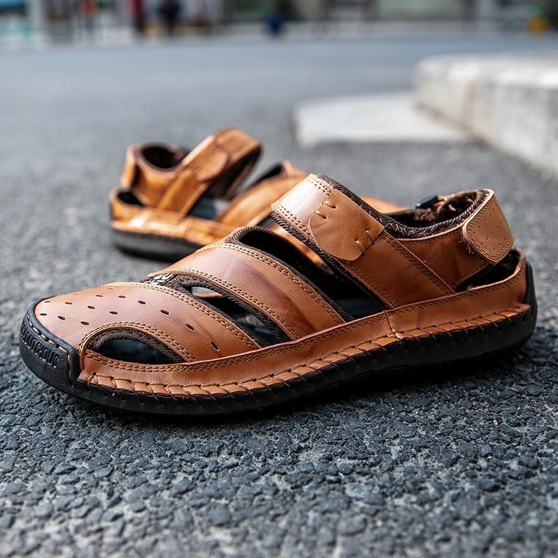 Large Size 47 48 Men's Sandals Summer Fashion Beach Sandals Men Leather Casual Shoes Soft Non-slip Sandals Zapatos De Hombre