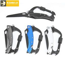 7 In 1 Multifunctional Outdoor Climbing Self Defense Gear Folding Knife With LED Flashlight Hiking Survival Carabiner Multi Tool