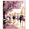 PHKV Abstract Landscape Cherry Blossoms Road Diy Oil Painting By Numbers Kit Wall Art Picture Home