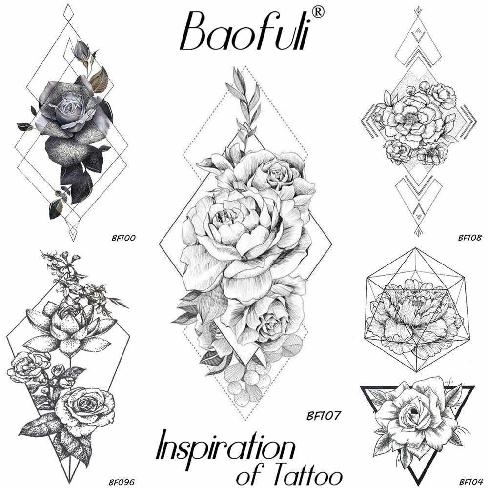 Baofuli Sketch Geometric Rhombus Rose Tattoo Temporary Fake Flower Chain Tatoo Sticker Black Body Art Painting Tattoos Arm Neck