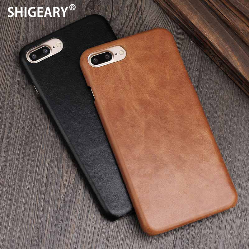 6S Cover For IPhone 10 X Case Genuine Leather Cases For IPhone 6 S 7 Plus Back Case Retro Caps