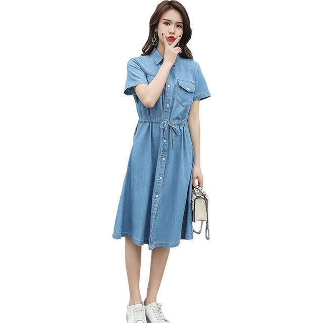 Short Sleeve Dress Women Summer Denim Dress 2019 New Big Size XL-5XL Dress Ladies Fashion Turn-down Collar Jeans Dresses Mujer