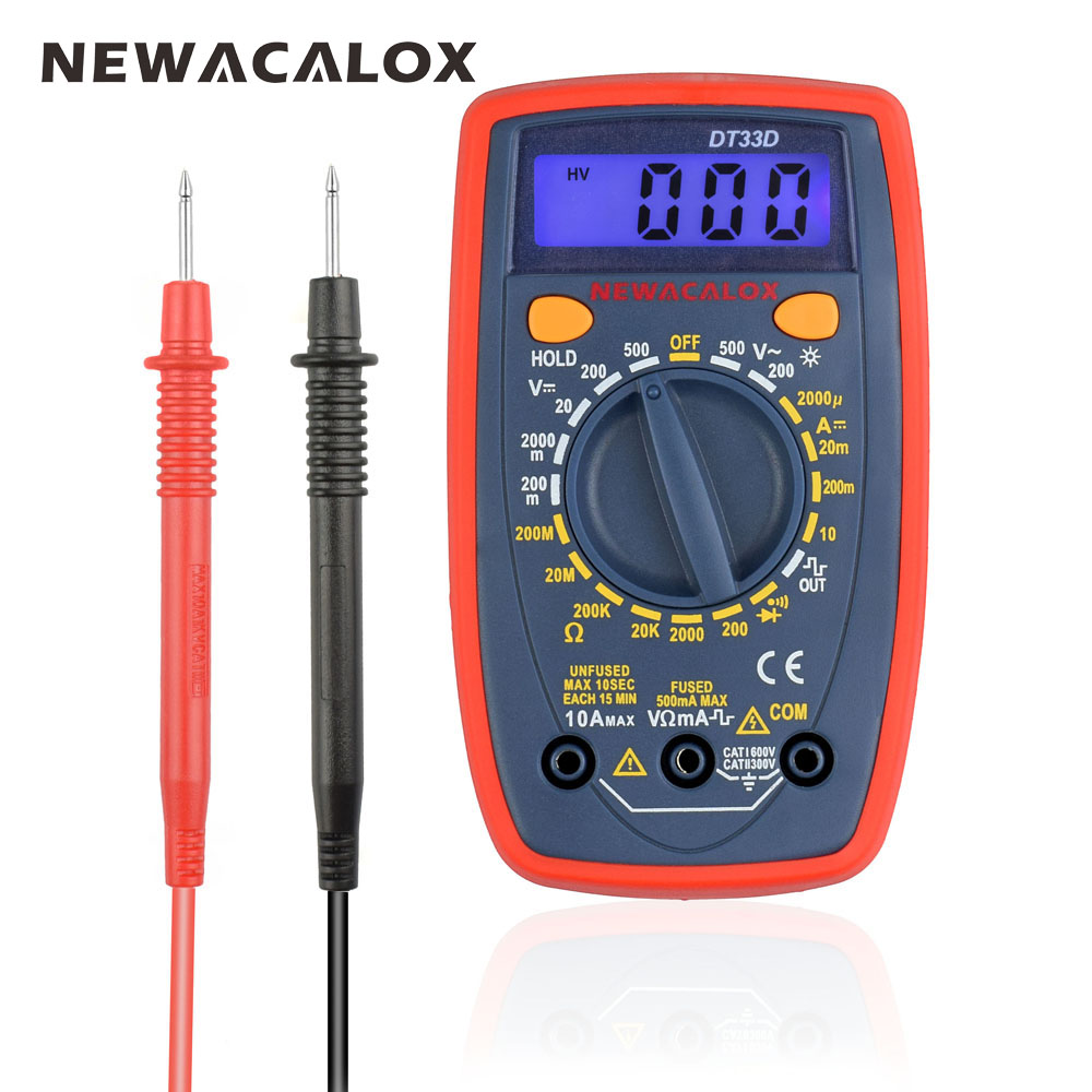 NEWACALOX DT33 LCD Digital Multimeter Back Light ACDC Ammeter Voltmeter Ohm Portable Clamp Meters Capacitance Tester