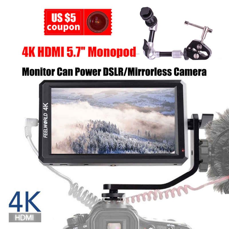 Feelworld F6 Support 4K HDMI 5.7'' IPS Input Full HD On-Camera Monitor Can Power for DSLR or Camera for ZHIYUN Crane 2/DJI RONIN цена