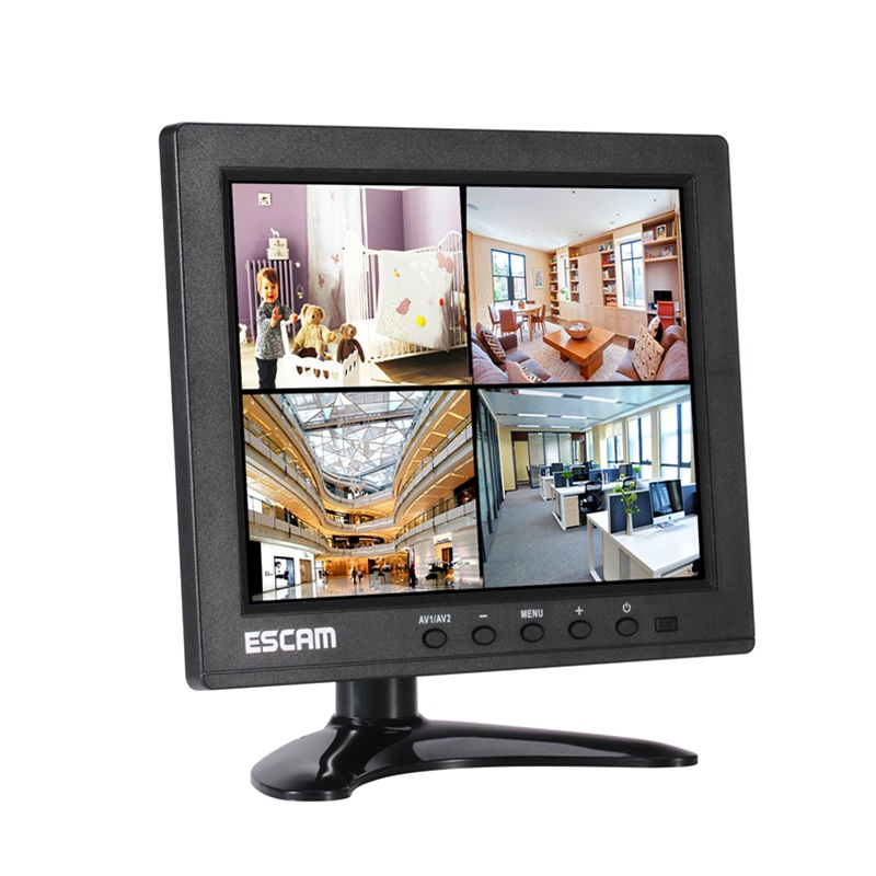 High Quality ESCAM T08 8 inch TFT LCD 1024x768 Monitor with VGA AV BNC USB FPV Monitor for PC CCTV Security Camera escam 10 inch tft hd lcd monitor for security surveillance camera cctv monitor pc monitor pal ntsc system support audio input