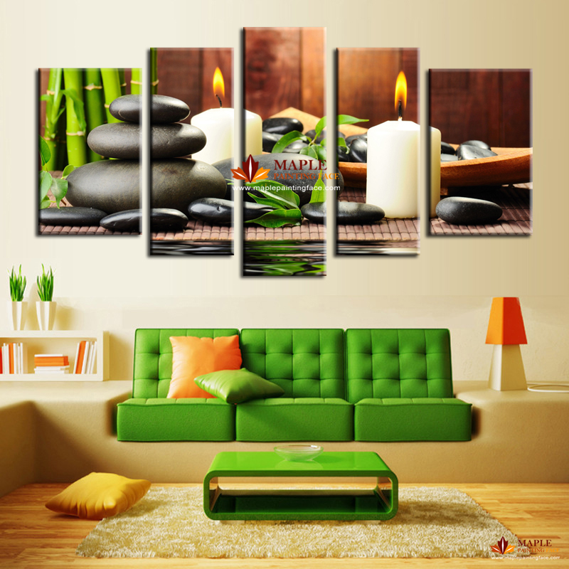 5 Panel Wall Art Botanical Green Feng Shui White Candle Wall Painting On  Canvas Wall Pictures For Living Room Cheap Wall Decor In Painting U0026  Calligraphy ...