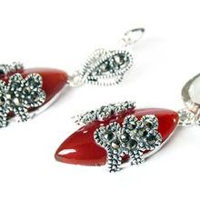 Капли воды прекрасный женские свадебные украшения Винтаж натуральный красный камень марказит 925 пробы серебро висячие серьги