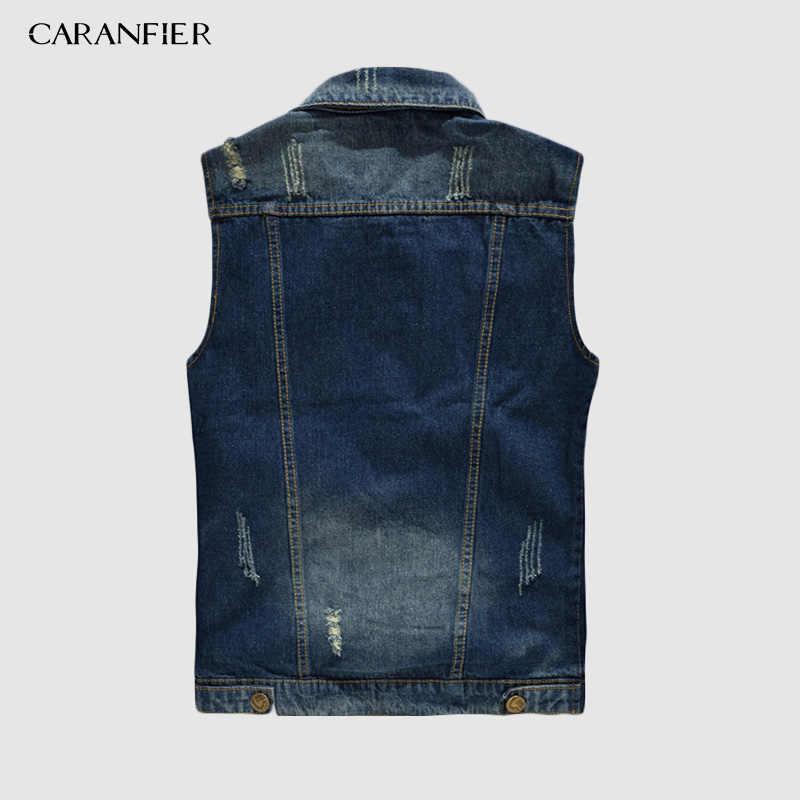 CARANFIER мужской джинсовый жилет в стиле панк-рок, ковбойский черный джинсовый жилет с заклепками, мужской мотоциклетный жилет без рукавов, двухфактурная кофта