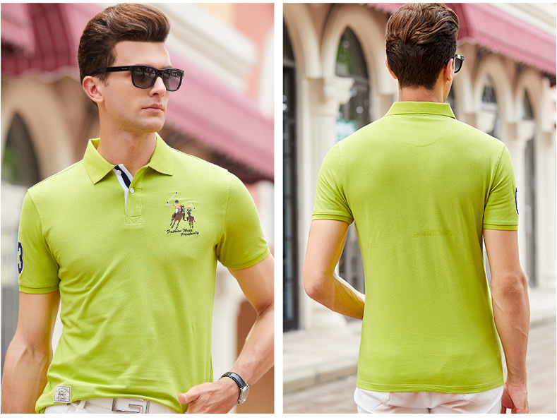 Fashion Summer Short Sleeve Solid Polo Shirt Men Cotton Print Slim Casual Polos Breathable Embroidery  Shirt Mens ClothingYP9099 24