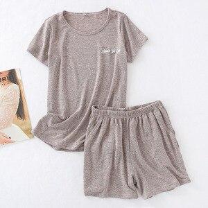 Image 4 - גבירותיי פיג מה סט קיץ קצר שרוול למעלה + מכנסיים קצרים מוצק צבע הלבשת נוחות רך עגול צוואר מזדמן ללבוש נשים Loose homewear