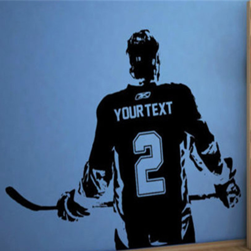 ᗐArte de pared sticker Decal jugador de hockey personalizada nombre ...