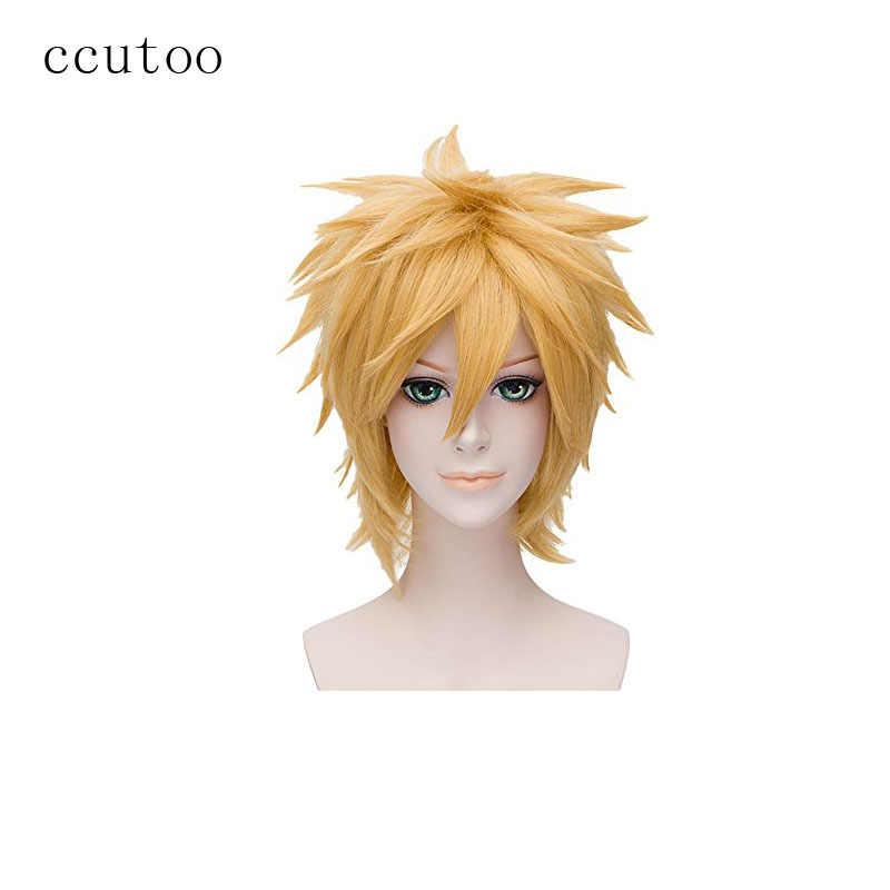 Ccutoo Наруто Uzumaki золотой короткий Мужской пушистый ворсистый слоистый Синтетический волос теплостойкое волокно партии косплей костюм парик