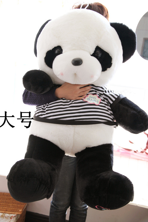 huge lovely soft panda toy plush stripe coat panda doll about 90cm 2718 lovely giant panda about 70cm plush toy t shirt dress panda doll soft throw pillow christmas birthday gift x023