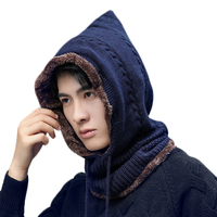 Fashion Autumn Winter Women Men Plus Velvet Knitted Hooded Hat Scarf Set Boys Thick Warm Cap