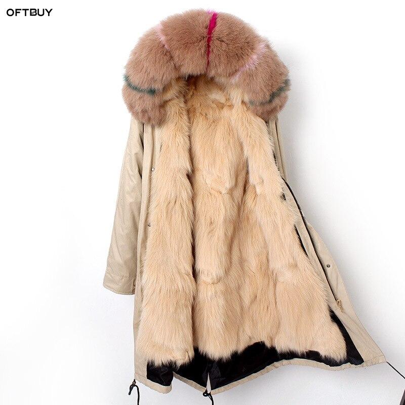 OFTBUY 2019 nero lungo parka reale pelliccia di procione cappotto giacca con cappuccio di inverno delle donne naturale pelliccia di volpe fodera outwear fashion news