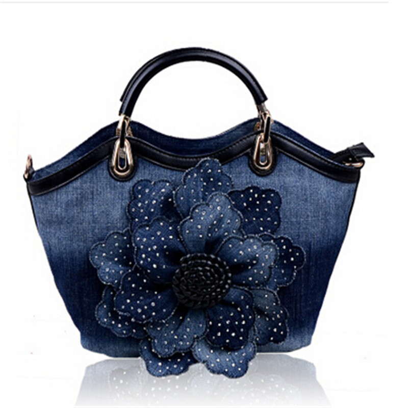 ФОТО 2016 sweet denim taping rose women bags canvas bag handbag messenger bag