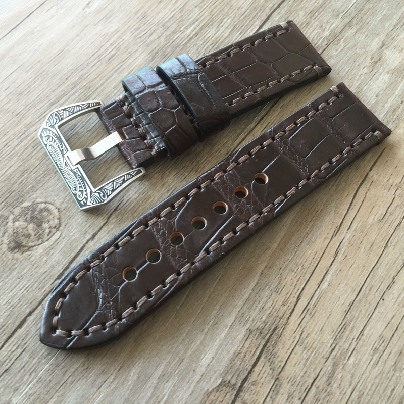 Luxury Upscale 20mm 22mm 24mm 26mm Genuine Leather leacrocodile ther pattern Watch Band Strap Watchband Strap for Panerai PAM 20mm 22mm 24mm 26mm khaki genuine leather watchband retro type watchband suitable for pam watches and rough watch free shipng