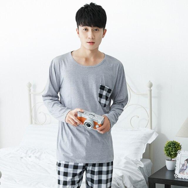 Плюс Размеры тонкий хлопок Повседневное плед пижамы наборы для Для мужчин 2018 осень-зима пижама с длинным рукавом мужская домашняя одежда для дома домашняя одежда