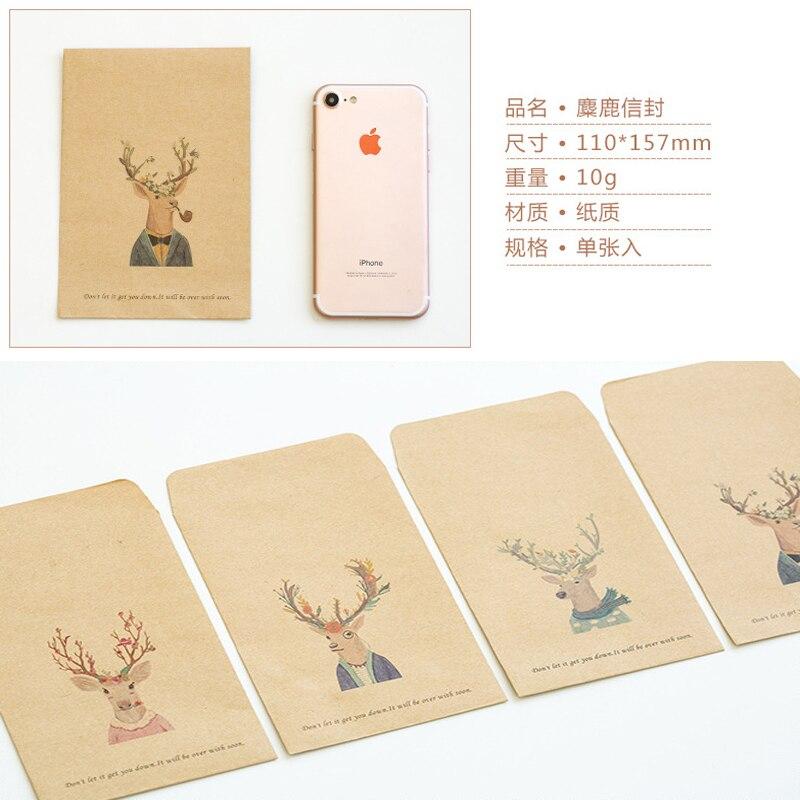 2pcs Deer Moose Fine Envelope Ciervo Retro Kraft Envelope Paper Herten Card Wedding Envelope Chevreuil Envelopes For Invitations