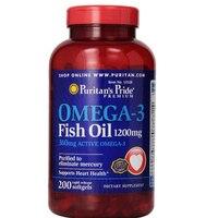Omega 3 Fish Oil 1200 mg, 360 mg active omega 3 200 softgels Count free shipping