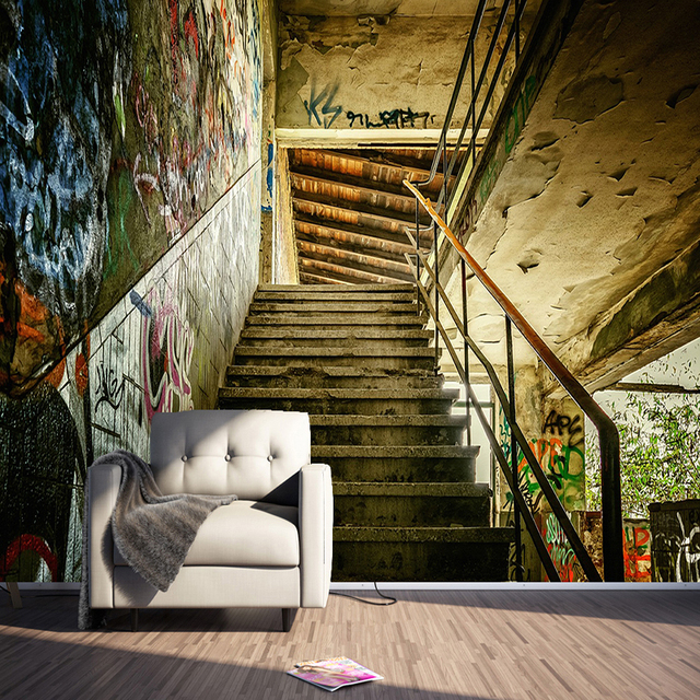 Us 12 42 26 Off Custom Any Size 3d Wall Murals Wallpaper Personality Stereoscopic Streets Graffiti Stairs Large Wall Painting Living Room Decor In