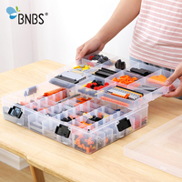 BNBS Building Blocks Lego Toys Large Capacity Hand Kids Storage Case Clear Plastic Organizer Box Can Adjust The Storage Space