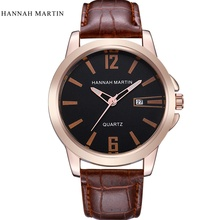 Mens Watches Top Brand Luxury Hannah Martin Leather Strap Casual Quartz Watch Men Sport Waterproof Business Wrist Watches Clock big dial watches men hour mens watches top brand luxury quartz watch man leather sport wrist watch clock alloy strap