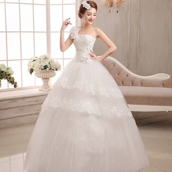 elegant Lace applique Wedding Dresses White Tulle Wedding Dress Bridal Dress Marriage Customer Made Size