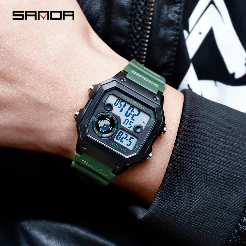Image 2 - SANDA Brand Men Sports Watches Fashion Chronos Countdown Mens Waterproof LED Digital Watch Man Military Clock Relogio MasculinoDigital Watches   -