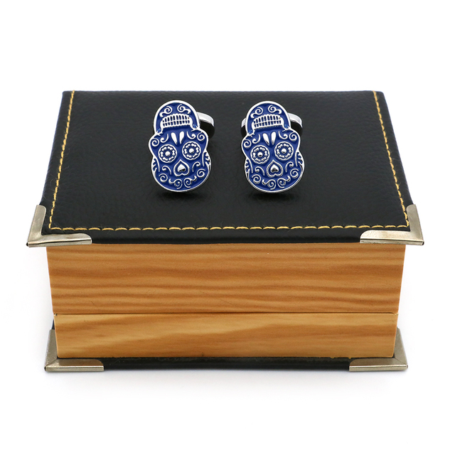 iGame New Arrival Skull Cuff Links Blue Painting Skeleton Dead Head Design Quality Brass Material Brand Cufflinks Free Shipping 3