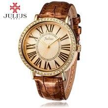 2016 новых женщин наручные часы женщины платье горный хрусталь часы моды случайные кварцевые часы люксовый бренд Юлий 383 часы