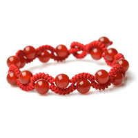 Fashion Natural Stone Chinese Knot Pendant Bracelet 6mm Beads Red Color Lucky Rope 17cm Lady Handmade