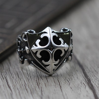 S925 Sterling Silver Jewelry Personality Domineering Crusader Shield Ring Thai Silver Punk Ring