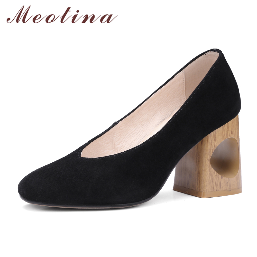 Meotina Women Pumps Genuine Leather  Women Autumn Shoes 2017 New Thick High Heels Women Dress Shoes Slip On Shallow Lady Pumps