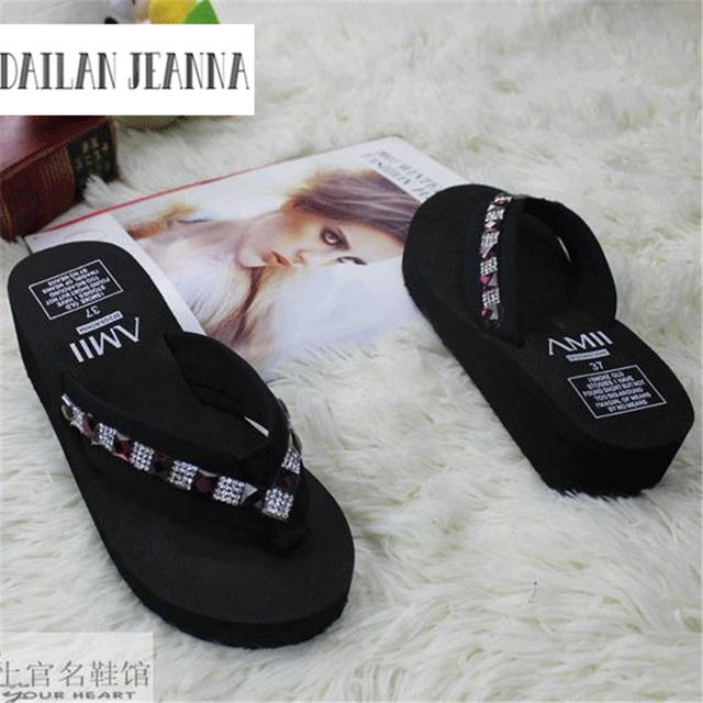 85ac667da At home diy handmade flip flops rhinestone paillette sandals platform  sandals platform wedges slippers female