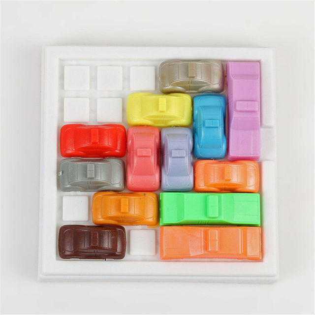 plastic car a kids toys traffic jam slide car brain teaser puzzle iq
