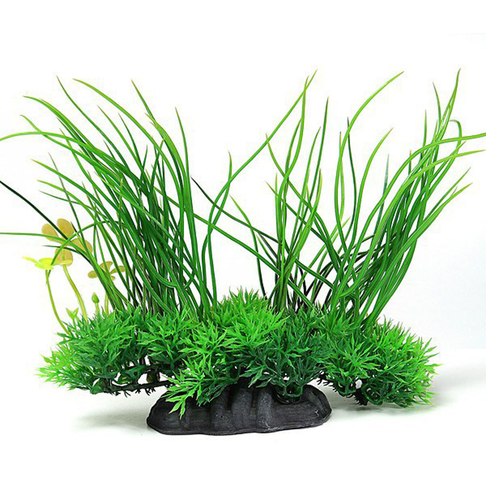 Plastic artificial grass plant aquarium fish tank decor for Fake pond plants