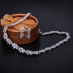 Image 3 - Brazaletes para damas marca WEIMANJINGDIAN Zirconia cúbica brillante CZ collar de flores de cristal y pendientes conjuntos de joyería nupcial de boda