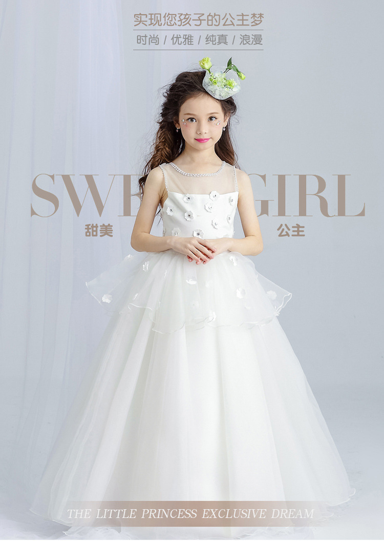 luxury white tulle lace flower girl dress ankle length wedding dress appliques kids party prom dress