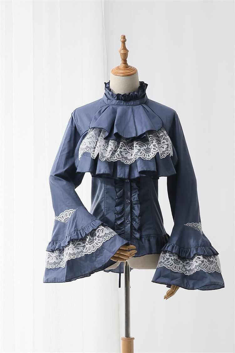 U-SWEAR 2018 primavera y otoño mujer nueva camisa Lolita japonés barroco gótico algodón trompeta de manga larga camisa alta calidad