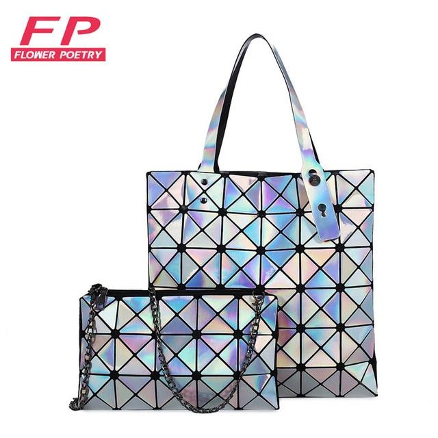 Ladies Folded Geometric Plaid Bag Women Fashion Casual Tote Top-handle Bag  Shoulder Bags Bao 12be12aecd4ba