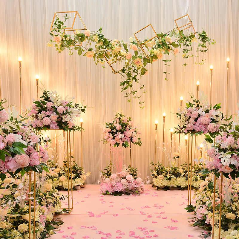 Gerçek dokunmatik Düğün Yol Kurşun Çiçek Gül Zambak Ortanca Çiçek Kombinasyonu DIY Kemerli Kapı Çiçek sıra Pencere T Sahne Düğün deco