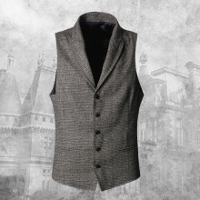 2017 New Men England slim woolen grey plaid vest Metrosexual men brand design fashion casual business suit vest autumn waistcoat(China)