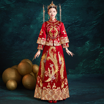 Royal Phoenix Embroidery Qipao Vintage Oriental Women Marraige Cheongsam Suit High Quality Bride Wedding Dress Toast Clothes