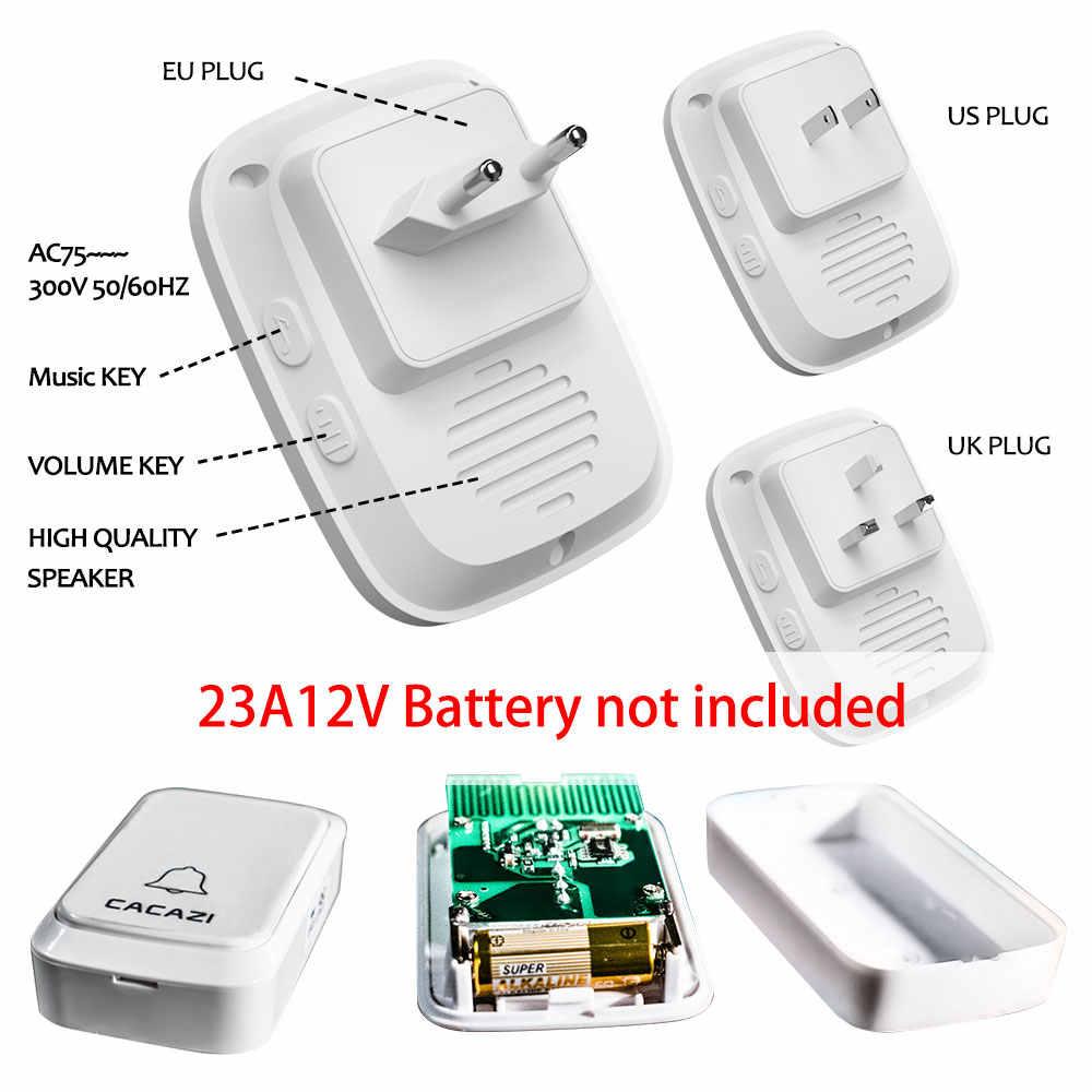 Batería impermeable de la campana de la puerta de CACAZI 2 transmisor 6 receptor de la campana del hogar US EU UK AU Plug Chime Smart Wireless anillo de Bell