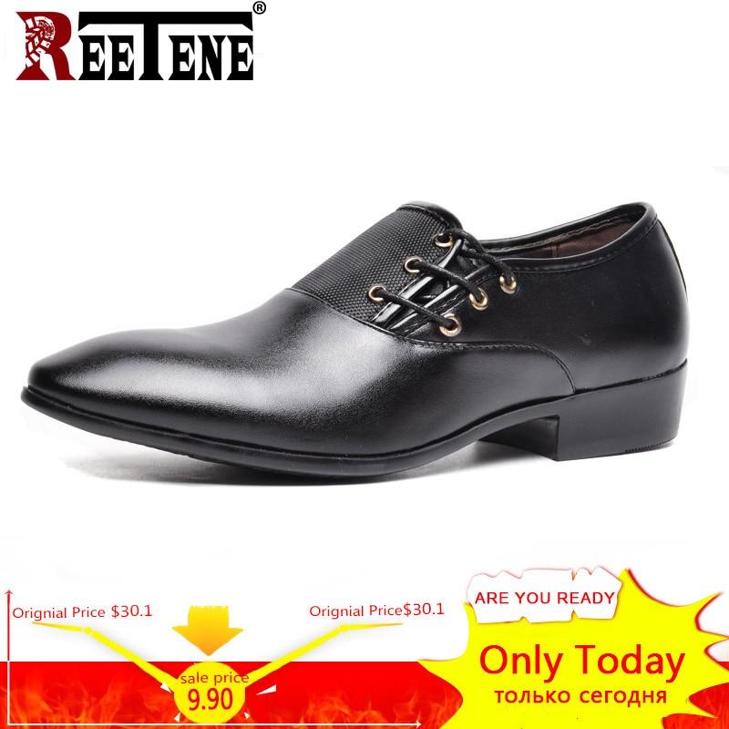 REETENE Big Size Men Formal Shoe Flats Oxford Shoes For Man Lace-Up Business Leather Shoes Men Flats Brand Men Dress Shoes 48