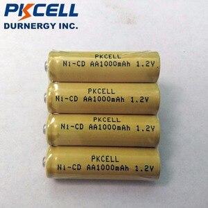Image 2 - 4pcs PKCELL 1000mAh 1.2V AA NiCd נטענת Industrail סוללות כפתור למעלה
