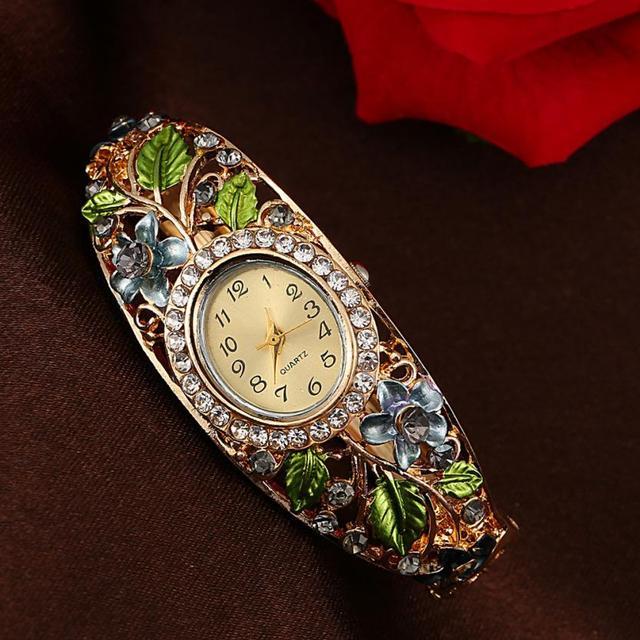 Bangle Watches Gold Plated Crystal Flower Women Bracelet Dress Quartz Watch Luxury Digital Wristwatch Relogio Feminino Z20