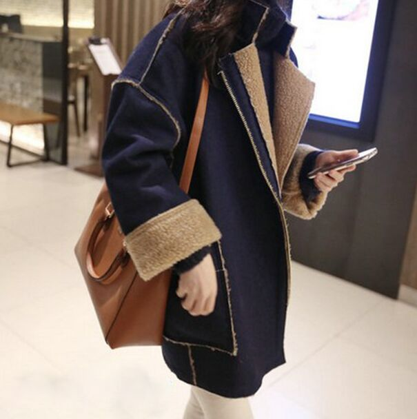 2018 Rushed Women   Leather   Jacket New Winter   Suede   Coats Women Large Collar Warm Inside Coat Wide Shoulder Outerwear Plus Size